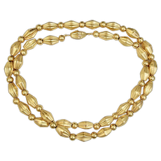C1950s 22k Yellow Gold 31 inches Fluted Links Necklace Screw Clasp 2.45 OZT
