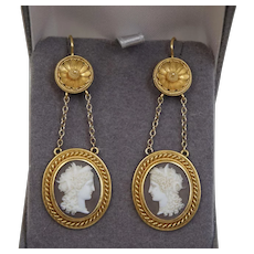 Museum Quality 1850 Victorian Etruscan Revival 18K Yellow Gold Sardonyx Cameo Earrings