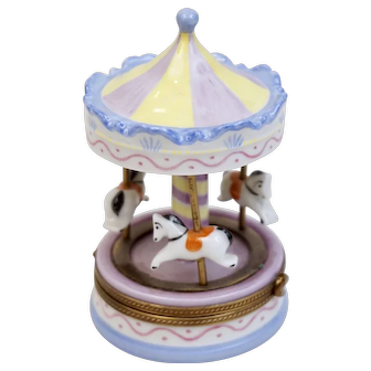 Vintage Limoges Carousel Merry-Go-Round Trinket Box Hand Painted