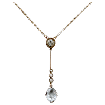 Edwardian Aquamarine  Seed Pearl Rose Gold Necklace Lavaliere 9 CT