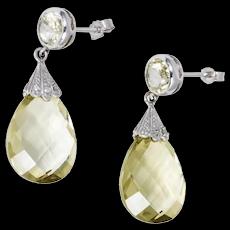 Edwardian Style 14K White Gold Diamond Orthoclase Drop Earrings