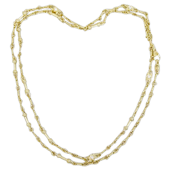 Judith Ripka 18K Yellow Gold Diamond Necklace 31 inches 30 Grams