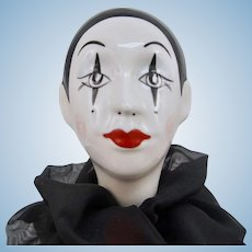 Vintage Pierrot Harlequin Ceramic Mime Doll Head on Lucite Stand