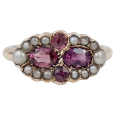 Beautiful 14K Yellow Gold Victorian Purple Garnet and Seed Pearls Ring