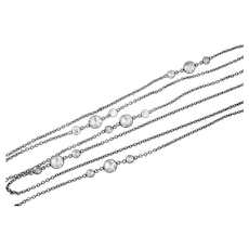 Art Deco Sterling Silver Crystal Muff Guard Watch Chain Faceted Crystals 54 inches