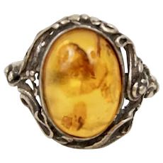 Hand Crafted  Vintage Baltic Honey Albert Sterling Silver Ring