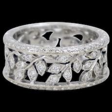 18K White Gold 0.60 Carat Diamond Open Work Olive Leaf 8.5 mm Band Ring Size 7