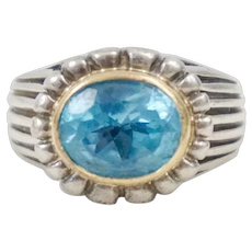 Byzantine Style Konstantino 18K yellow Gold Sterling Silver Blue Topaz Ring Size 8.5