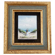 Charles E. Parthesius Framed Signed Enamel On Copper Miniature Painting Lady with Parachute on Beach