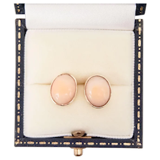 14K Yellow Gold Studs Oval Angel Skin Coral Cabochon Earrings
