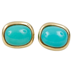 14K Yellow Gold Genuine Turquoise Earrings French Clip on Post Earrings