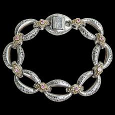 Byzantine Style Konstantino 18K yellow Gold Sterling Silver Pink Topaz Bracelet 7.5 inches