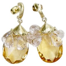 Sparkling 18K Yellow Gold Citrine and Kunzite Tear Drop Cha cha Earrings