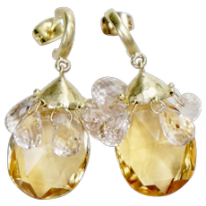 Sparkling 18K Yellow Gold Citrine and Kunzite Tear Drops Earrings