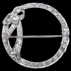 Edwardian Platinum Old Mine Cut Diamond Bow Pin Brooch