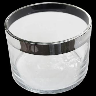 Mid Century Mordern Christofle France Fleuron Glass Salad Bowl Silverplate Rim
