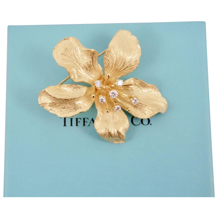 a913336ccf0 Tiffany   Co. 18K Yellow Gold Diamond Sculptural Orchid Flower Brooch    Five Mile Antiques