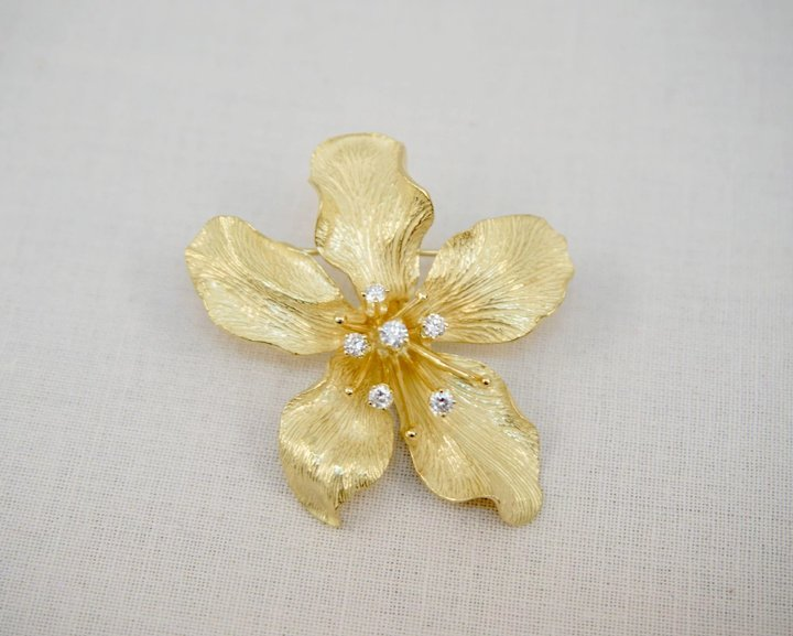8a2c85d65 Tiffany & Co. 18K Yellow Gold Diamond Sculptural Orchid Flower Brooch Pin