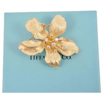 Tiffany & Co. 18K Yellow Gold Diamond Sculptural Orchid Flower Brooch Pin