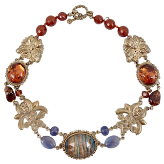 Impressive Stephen Dweck Sterling Silver Vermeil Amber Agate Chinese Style Chinoiserie Necklace