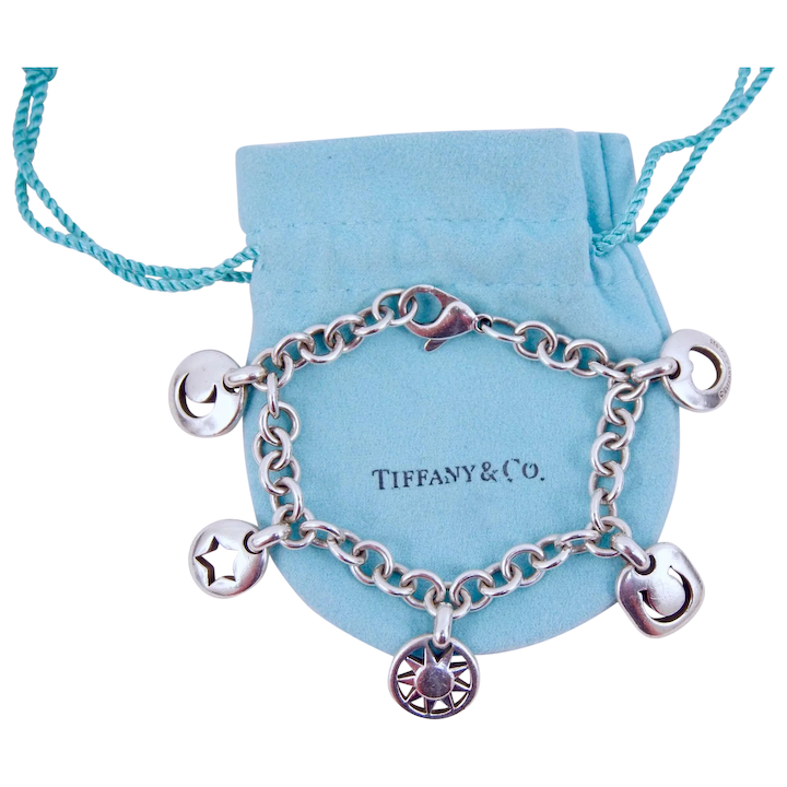 7c9688b91fe25 Tiffany & Co. Sterling Silver Sun, Moon, Heart, Horseshoe, Star Five Charm  Bracelet