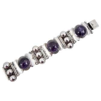 Signed Mexican Sterling Silver Bracelet with Large Amethyst Cabochons