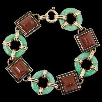 Art Deco Carnelian Jade Peking Glass Bracelet in Rolled Gold with Black Enamel Germany German