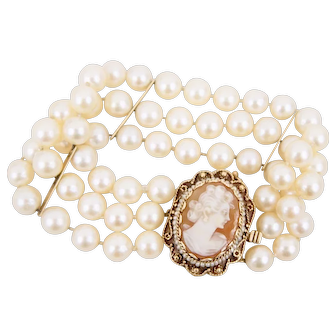 Etruscan Style 14K Yellow Gold Three Strand Cultured Pearl Bracelet with Cameo Clasp
