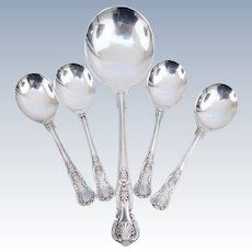 Beautiful set of EPNS-A1 Kings Pattern Sheffield Silver-plate Bouillon Cream Soup Spoon Serving