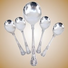 Beautiful set of EPNS-A1 Kings Pattern Sheffield Silver-plate Bouillon Cream Soup Spoon Serving