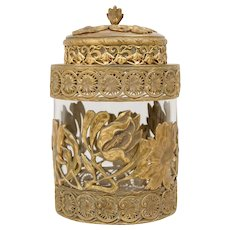 Art Nouveau Crystal Ormolu Gilt Bronze Copper Humidor Cookie Jar