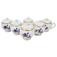 Set 6 Richard Ginori Savona Pot de Creme with Lid Blue Flowers