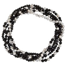 Five Strand Grey Cultured Baroque Pearls and Faceted Black Onyx Bead Necklace