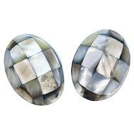 Gerda Lynggaard Monies Huge Pair MOP Mosaic Egg Earrings