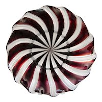 "Beautiful Murano Venetian  Zanfirico Latticino Dinner Salad Plate 9.5"" Wine Color Pin Wheel"