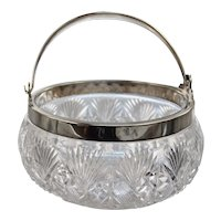 American Brilliant Cut Crystal Ice Bucket Silver Plated Rim and Handle ABP