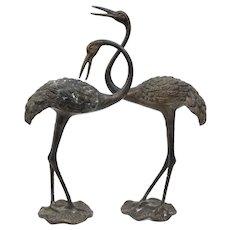 Pair Elegant Vintage Chinese Asian Brass Mantle Crane Nice Patina