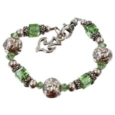 Modernistic Sterling Silver Green Crystal Cube Bracelet with Peace Dove Charm