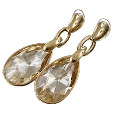 Vintage Signed Swarovski Prism Chandelier Champagne Crystal Dangle Earrings Clip on Earrings