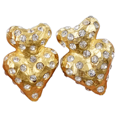 Vintage Double Heart Gold Tone Earrings Studded with Clear Crystals Rhinestones Signed AL