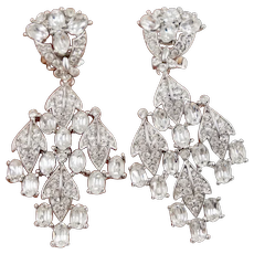 Statement Nolan Miller Large Chandelier Rhinestone Chrystal Drop Earrings Clip on