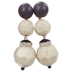 Angela Caputi Vintage Clip Drop Earrings Cream Grey Resin Acrylic