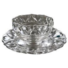 Tiffany & CO Crystal Glass Comfort Hearts Dish Plate Bowl Set