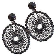 Babylone Paris Black Mesh Dangling Faceted Black Crystal Beads Earrings