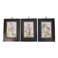 Louis Achat France Hand Painted Porcelain Tiles Still Life with Flowers and Butterflies Framed Signed