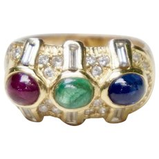 14K Yellow Gold Diamond Ruby, Emerald and Sapphire Cabochon Ring