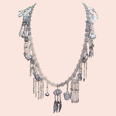 Art Deco Chinese Export Silver Long Necklace Belt with 27 Charms French Market