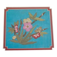 Vintage Chinese Framed Silk Embroidery Sample Plum Flowers