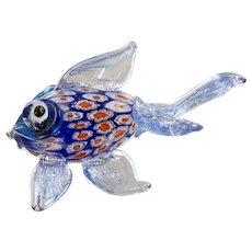 Murano Venetian Art Glass Hand Made Gold Fish with Millefiori