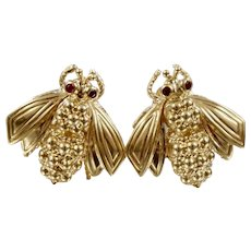 Vintage Tiffany & Co. 18K Yellow Gold Sculptural Bee Earrings with Ruby Eyes
